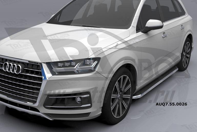 Пороги алюминиевые (Ring) Audi (Ауди) Q7 (2015-) без панорамной крыши, AUQ7550026
