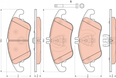Колодки дисковые Передние, TRW, GDB1737