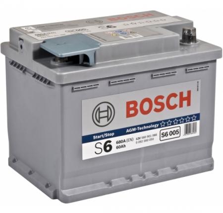 Аккумуляторная батарея Bosch S6 AGM, 12 В, 60 А/ч, 680 А, 0092S60050
