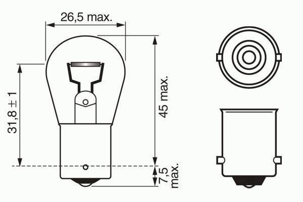 Лампа Pure Light, 12 В, 21 Вт, P21W, BA15s, BOSCH, 1 987 302 201