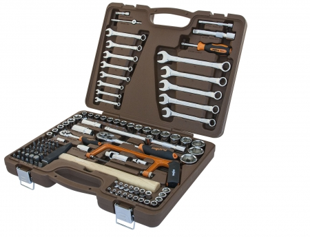 """OMT109SL Универсальный набор инструмента торцевые головки 1/4""""DR и 1/2""""DR, аксессуары к ним и комбинированные ключи, 109 предметов"""