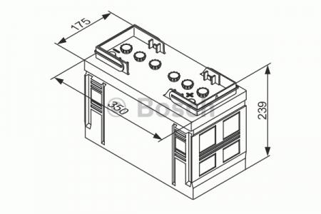 Аккумуляторная батарея Bosch, 12 В, 90 А/ч, 480 А, 0180659014
