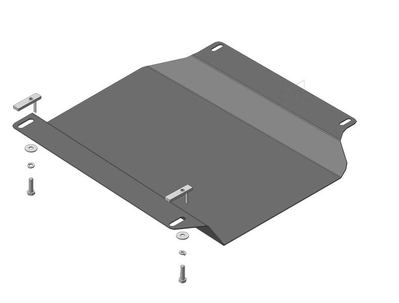 Защита картера двигателя Nissan Navara III (D40) 2005- Nissan Pathfinder III 2004- V=2,5D (сталь 2 м