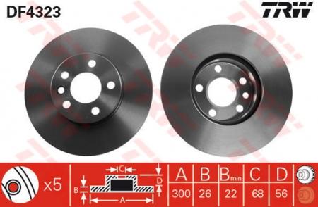 Диск тормозной передний, TRW, DF4323