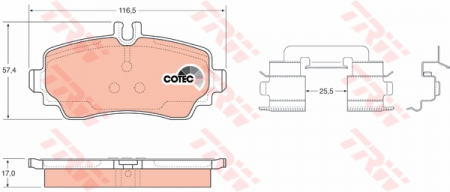 Колодки дисковые Передние, TRW, GDB1293