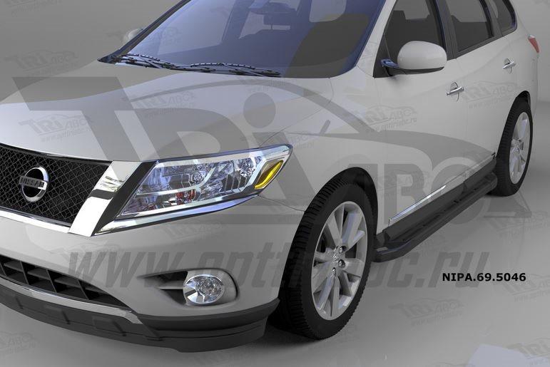 Пороги алюминиевые (Corund Black) Nissan Pathfinder (2014-), NIPA695046