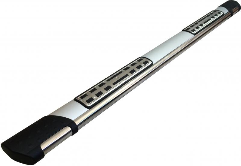 Пороги алюминиевые (Emerald silver ) Ssang Yong Rexton (Ссанг Йонг Рекстон) (2012-) (только для 4WD)