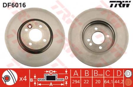 Диск тормозной передний, TRW, DF6016