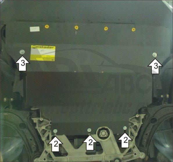 Защита картера двигателя, КПП VW Passat (B8)2015- V=1,4; 1,8 (сталь 2 мм), MOTODOR02736