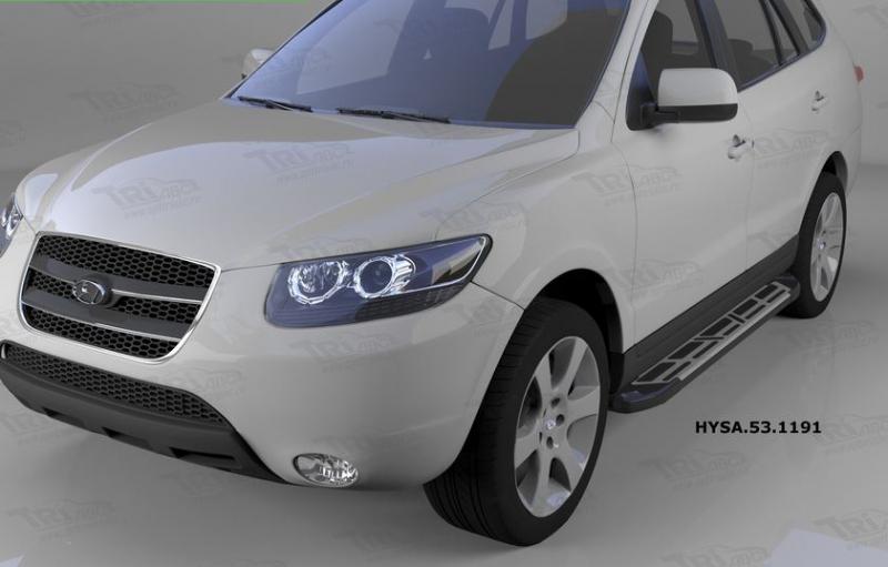 Пороги алюминиевые (Corund Silver) Hyundai Santa Fe (Хёндай Санта Фе) (2006-2010-2012) кроме Тагаз,
