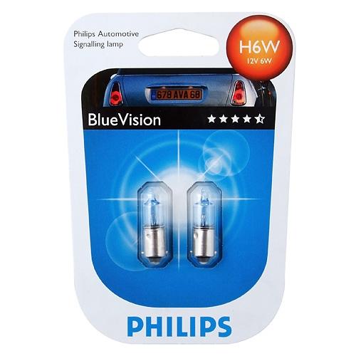 """Лампа """"BlueVision"""", 12 В, 6 Вт, H6W, BAX9s, PHILIPS, 12036 BV"""