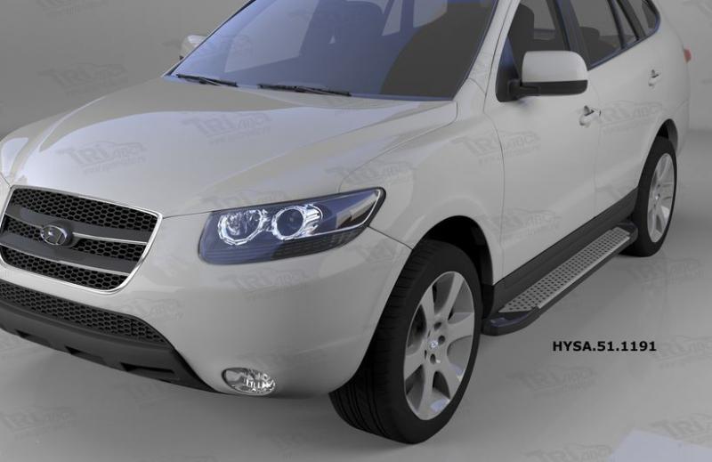 Пороги алюминиевые (Sapphire Silver) Hyundai Santa Fe (Хёндай Санта Фе) (2006-2010-2012) кроме Тагаз