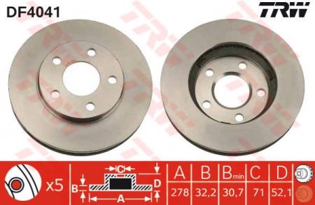 Диск тормозной передний, TRW, DF4041