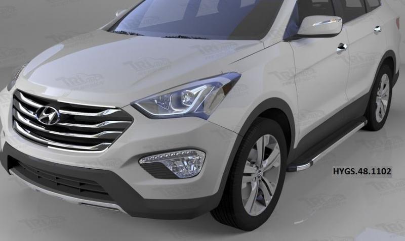 Пороги алюминиевые (Brillant) Hyundai Grand Santa Fe (2013-) (черн/нерж), HYGS481102