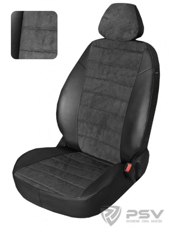 """Чехлы Audi A4 B-7 Sd 2004-2009 дел. черный аригон + черная алькантара, """"Автопилот"""", 125092"""