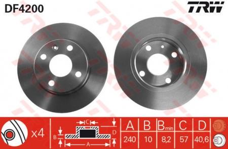 Диск тормозной задний, TRW, DF4200