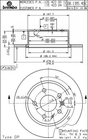 Диск тормозной задний, BREMBO, 08139540