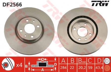 Диск тормозной передний, TRW, DF2566