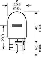 Лампа ORIGINAL LINE, 12 В, 21 Вт, W21W, W3x16d, OSRAM, 750502B