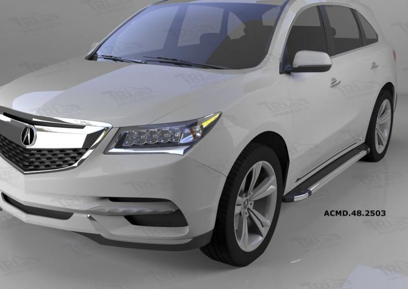 Пороги алюминиевые (Brillant) Acura MDX (2014-)(черн/нерж), ACMD482503