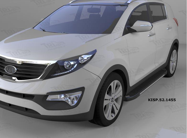 Пороги алюминиевые (Onyx) Hyundai IX-35 (2009-2015)/ Kia Sportage (Киа Спортаж) III (2010-2016), KIS