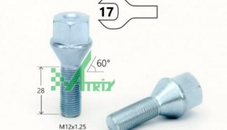 Болт C17B28 Z M12X1,25X28 Цинк ВАЗ литой диск завод ключ 17мм 072110