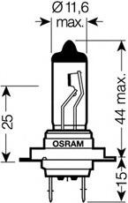 Лампа ORIGINAL LINE, 12 В, 55 Вт, H7, PX26d, OSRAM, 6421001B