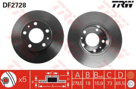 Диск тормозной передний, TRW, DF2728