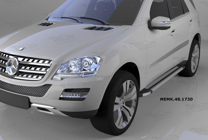 Пороги алюминиевые (Brillant) Mercedes ML W164 (2006-2011) (серебр), MEMK481730