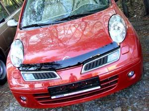 Дефлектор капота Nissan Micra (Ниссан Микра) (2002-2007) (темный), SNIMIC0212