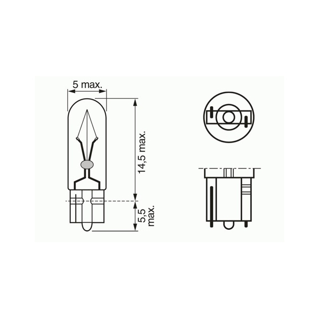 Лампа Pure Light, 12 В, 1,2 Вт, W2x4,6d, BOSCH, 1 987 302 208