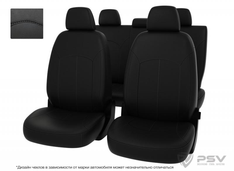 """Чехлы Hyundai Santa Fe II 06-12 черная экокожа + черный нубук """"Оригинал"""", 124941"""