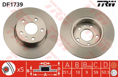 Диск тормозной задний, TRW, DF1739