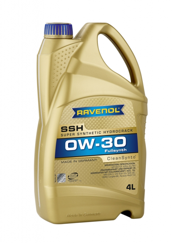 Моторное масло RAVENOL Super Synthetic Hydrocrack SSH, 0W-30, 4л, 4014835795396
