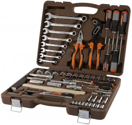 """OMT77S12 Универсальный набор инструмента торцевые головки 1/4"""", 1/2""""DR 4-32 мм, с 12-гр. головками 1/2""""DR, аксессуары к ним, комби. ключи 8-19 мм, 77 предметов"""