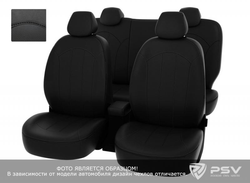 """Чехлы Chevrolet Aveo 2012-> черный/отстрочка черная, экокожа, """"Оригинал"""", 124855"""
