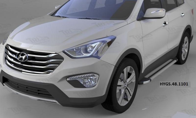 Пороги алюминиевые (Brillant) Hyundai Grand Santa Fe (2013-) (серебр), HYGS481101