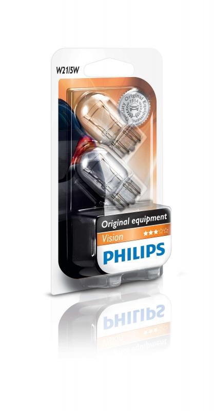 """Лампа """"Premium"""", 12 В, 21/5 Вт, W21/5W, W3x16d, PHILIPS, 12066 B2"""