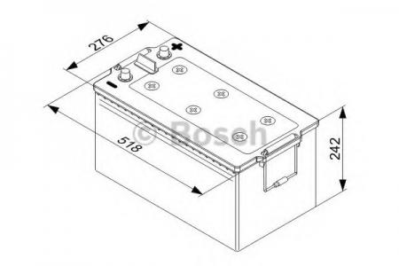 Аккумуляторная батарея Bosch, 12 В, 225 А/ч, 1150 А, 018067250C