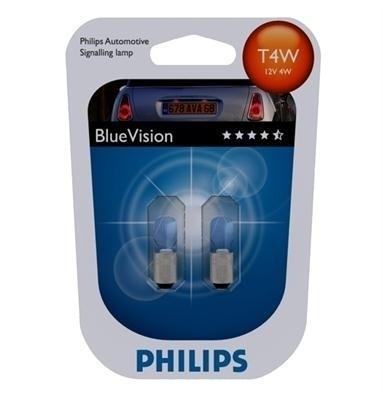 "Лампа ""BlueVision"", 12 В, 4 Вт, T4W, BA9s, PHILIPS, 12929 BVB2"