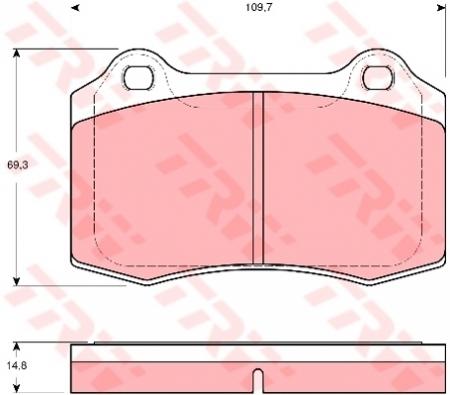 Колодки дисковые Передние+Задние, TRW, GDB1513