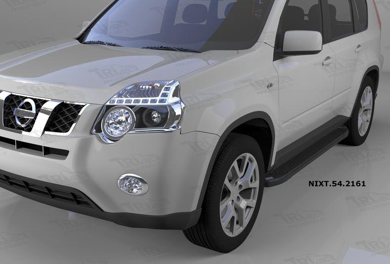 Пороги алюминиевые (Sapphire Black) Nissan X-Trail (Ниссан Икстрейл) (2007-2010-2014), NIXT542161