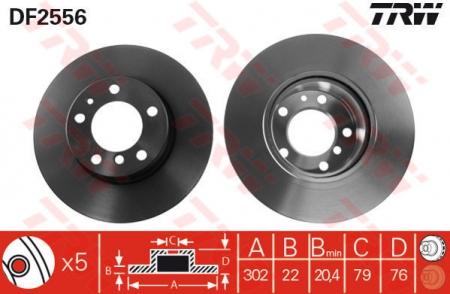 Диск тормозной передний, TRW, DF2556