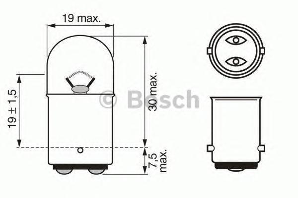 Лампа Trucklight, 24 В, 5 Вт, R5W, BA15d, BOSCH, 1 987 302 527