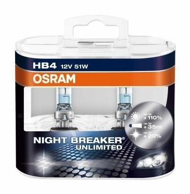 Лампа NIGHT BREAKER UNLIMITED, 12 В, 51 Вт, HB4, P22d, OSRAM, 9006NBUDUOBOX