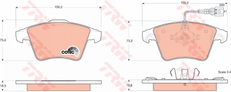 Колодки дисковые Передние, TRW, GDB1555