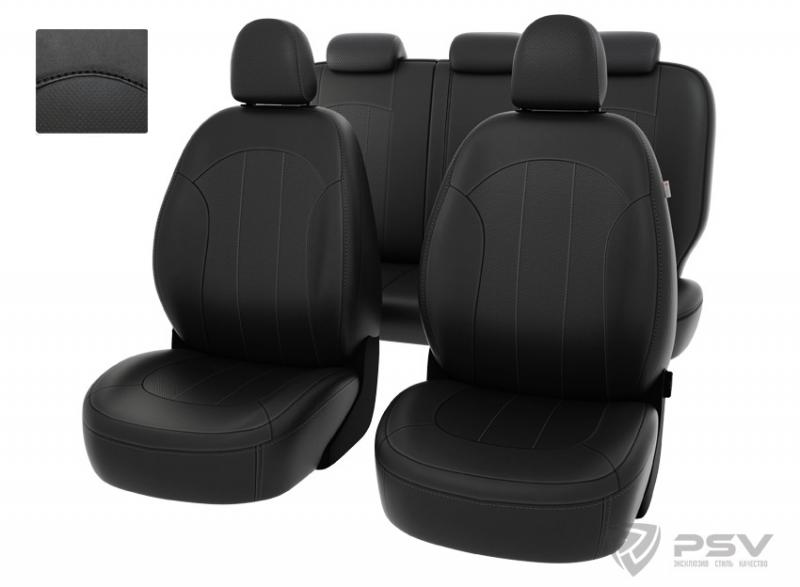 """Чехлы Hyundai ix35 2010-2015 черный/отстрочка черная, экокожа """"Оригинал"""", 124709"""