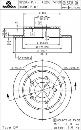 Диск тормозной задний, BREMBO, 08573720