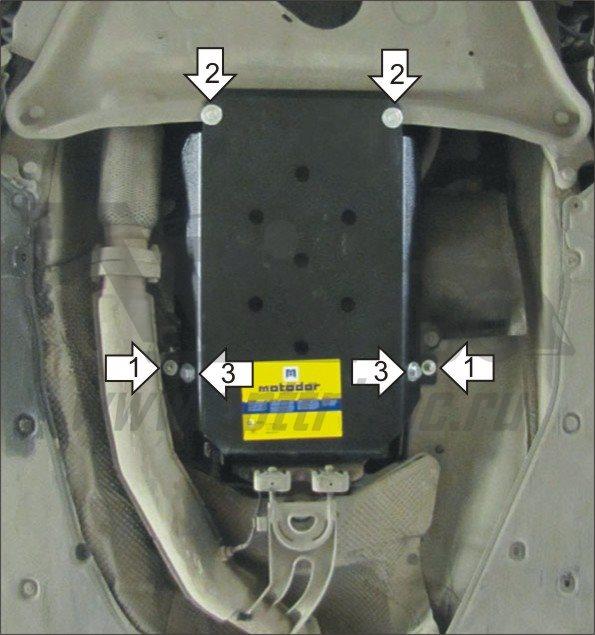 Защита картера AКПП BMW 7 (e65, E66) V-3,0 (2001-2008)(сталь 2 мм), MOTODOR10208
