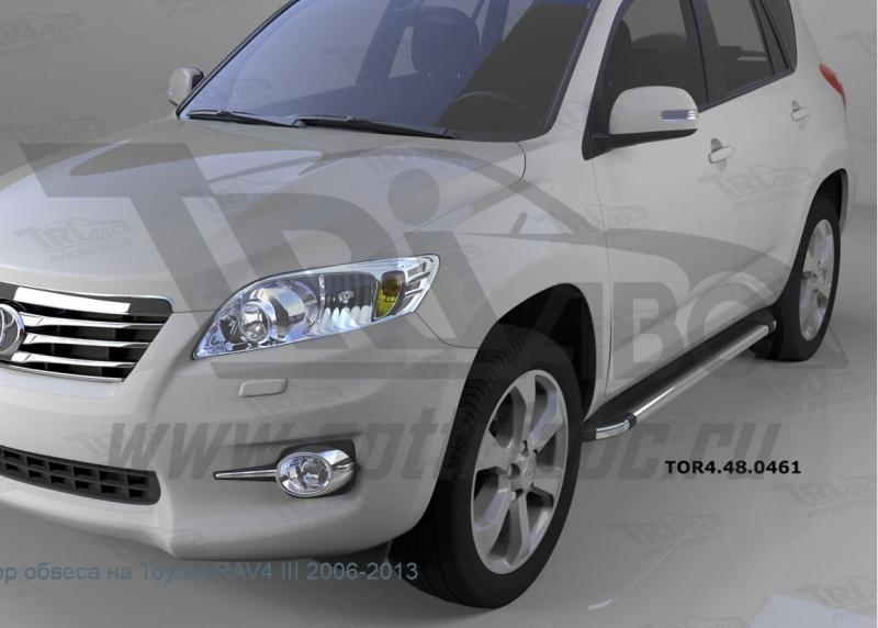 Пороги алюминиевые (Brillant) Toyota RAV4 (Тойота РАВ4) (короткая база) (2006-2013) (черн/нерж), TOR